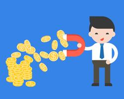 Businessman hold magnet to pull a coin from stack of coins, wealthy concept vector