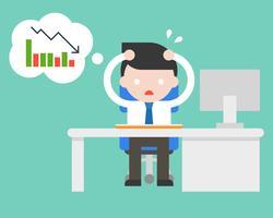 Erschöpfter Geschäftsmannstress und paranoid im Büro, weil schlechter Umsatz, flaches Design