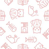 cat with accessories and toy, outline seamless pattern