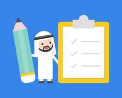 Cute Arab businessman holding giant pencil with checklist