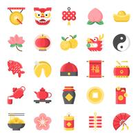 Chinese new year flat cute icon, 128 px on grid system set 1/2