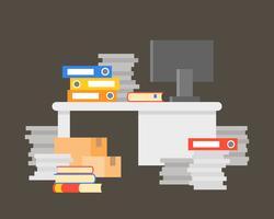 Stapel av dokument med skrivbord och dator