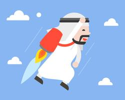 Cute arab businessman flying in sky with jetpack, leader concept