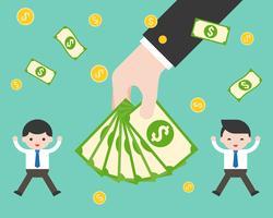 Hand met bankbiljetten tussen gelukkig zakenman, bonus en salaris verhogen