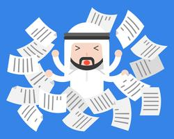 Empresário árabe bonito aflição ou frustrar com papel a voar