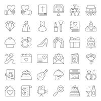 Wedding organization related vector icon, line style.