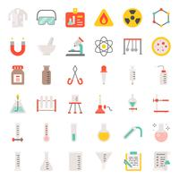 laboratory equipment icon set vector