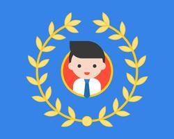 Sorria avatar masculino no quadro de círculo ao redor com a coroa