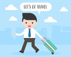 Business man pull travel luggage, let's go travel concept vector