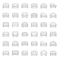 Sofa and chair, thin line icon set vector
