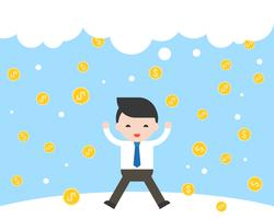 Businessman jumping with happiness because gold coins falling
