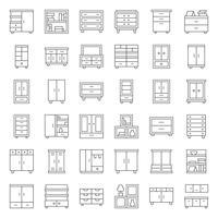 Armario y gabinete de muebles de interior, conjunto de iconos de contorno