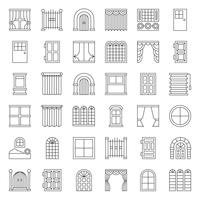 Modern, vintage Door and window icon set, outline style
