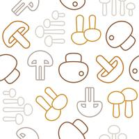 Seamless pattern Outline mushroom icon isolado no fundo branco