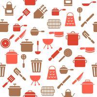 Köksartiklar sömlöst mönster för tapeter eller papper