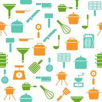 Köksredskap sömlösa mönster vektor för tapeter eller omslagspapper