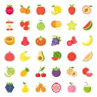 Cute fruit and berries, flat icon set 2 vector