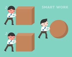 Smart work concept, businessman rolling sphere rock while another businessman  vector