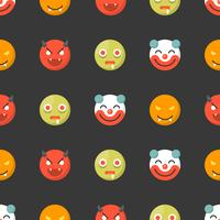 Halloween Emoticon seamless pattern, flat design for use as wallpaper or background