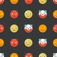 Halloween Emoticon sömlöst mönster, platt design för användning som bakgrund eller bakgrund