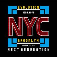 Evolution New York Brooklyn typographie conception tee pour t-shirt