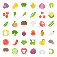 Vegetable icon set 2/2, flat design