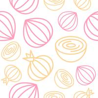 Onion Seamless pattern outline vegetable set