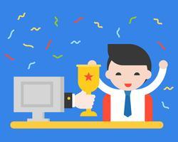Main dans l'écran donnant une coupe à l'homme d'affaires, concept de concurrence en ligne