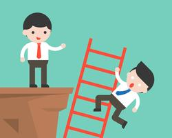 Businessman climb a ladder and another businessman push it fall from cliff