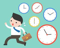 Cute businessman running in rush hours and clocks, time management concept
