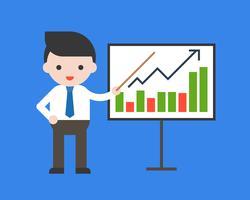 Grafico di presentazione dell'uomo d'affari con il puntatore, concetto crescente di affari, progettazione piana