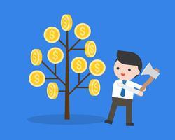 Empresário se prepara para cortar uma árvore de dinheiro com o conceito de pessoas machado, estúpido e ganancioso
