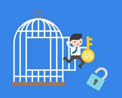 Businessman jumping from cage with money key and lock, freedom financial concept