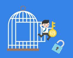 Der Geschäftsmann springend vom Käfig mit Geldschlüssel und Verschluss, Finanzkonzept der Freiheit