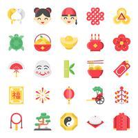 Icona carina piatta cinese di nuovo anno, 128 px sul sistema di griglie impostato 2/2