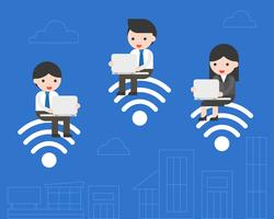 business people sitting on wifi symbol  and using laptop working