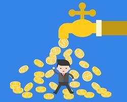 Bedrijfsmens onder dalende muntstukken van waterlusje