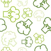 Broccoli outline seamless pattern on white background, vegetable wallpaper set