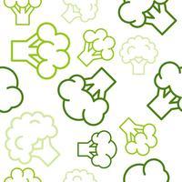 I broccoli profilano il modello senza cuciture su fondo bianco, insieme di carta da parati di verdure
