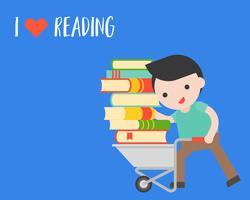 L'uomo porta una pila di libri con il carrello, concetto di giorno del libro del mondo