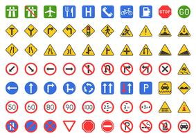 Traffic sign icon set vector
