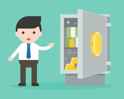 Businessman showing banknote and gold in safe box vector