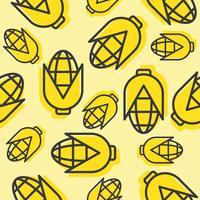 Corn seamless pattern, outline vegetable wallpaper