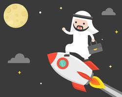 Cute arab business man riding rocket flying in sky to reach the moon