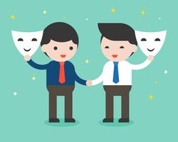 Two businessman shake hand and open mask, sincere business people concept