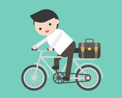 Man riding a bicycle with briefcase, flat design