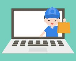 Delivery man sending bag from laptop screen, for shopping online template vector