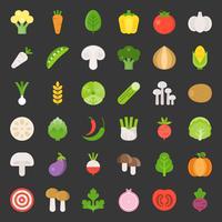 Söt grönsaksuppsättning 1/3, platt designikon