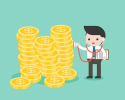 Businessman use stethoscope checking stack of gold coins