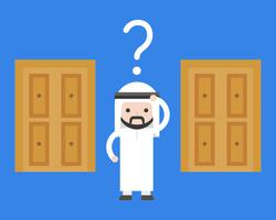 Arab business man confuse to choose which door for solution
